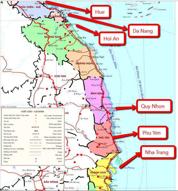 Map Central Vietnam