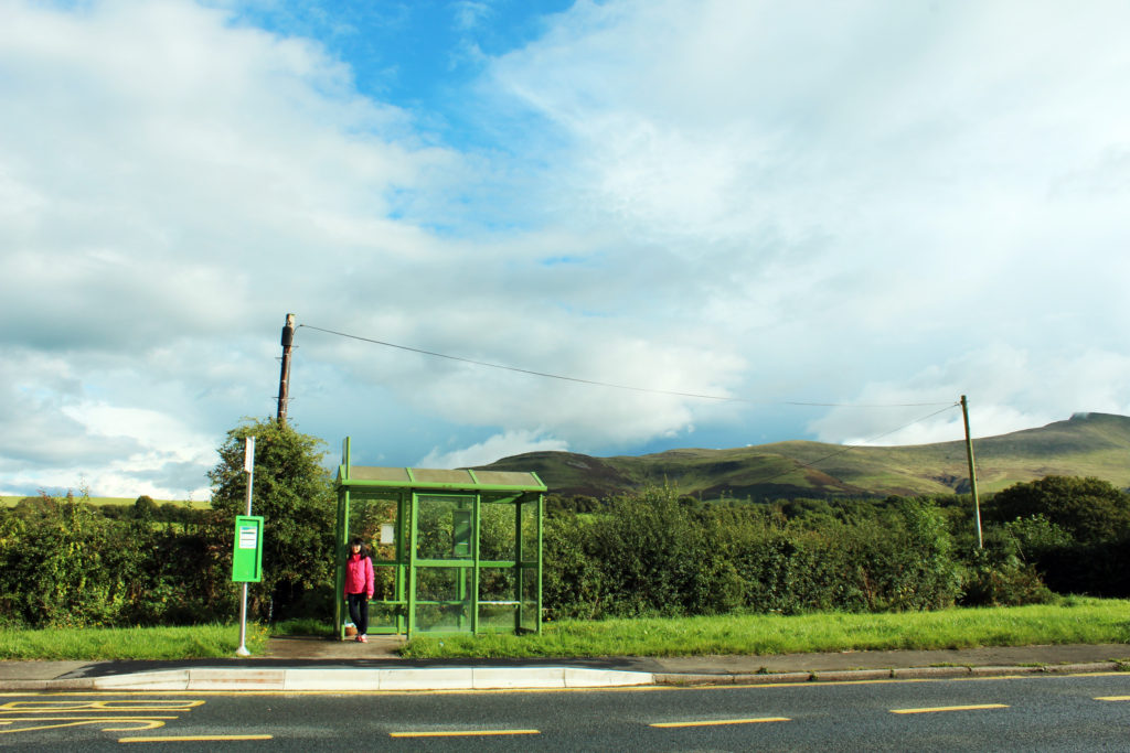 Me in front of the Libanus bus stop | Day trip to Brecon Beacons from Cardiff by public transport