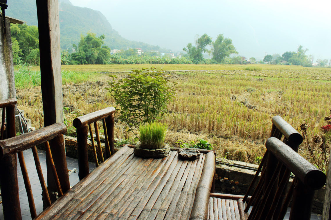 "View of rice paddy fields from the cafe at The manmade ""stream"" at Mai Chau Countryside Homestay"