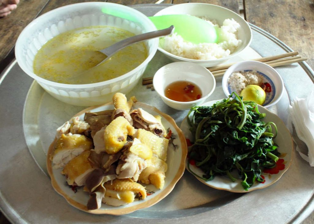 Homemade lunch at a local house in Duong Lam